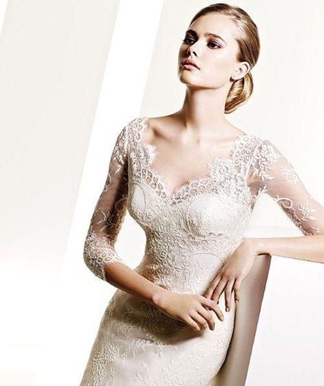 V-neck Court Train Mermaid Lace Wedding Dress(WD0640)