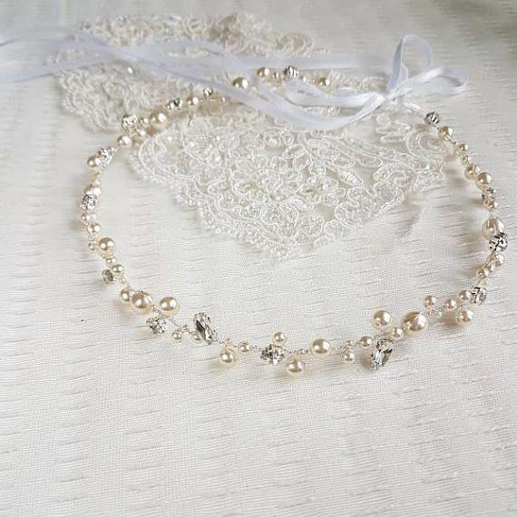 Wedding pearl headband Ecru Pearl Hair Piece Bridal