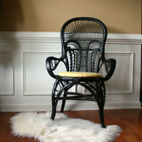 Vintage Modern Rattan Arm Chair Black Chinoiserie Accent Desk Dining Chair Hollywood Regency Seating Patio Furniture Bohemian Anthropologie