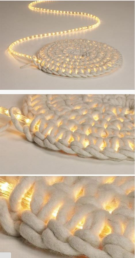 Crocheting Rope : Crochet around rope lights for a light-up rug!