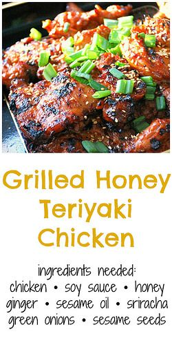 Grilled Honey Teriyaki Chicken has a sweet marinade of honey, soy sauce, ginger, garlic and sesame oil. Perfect for barbecue season!