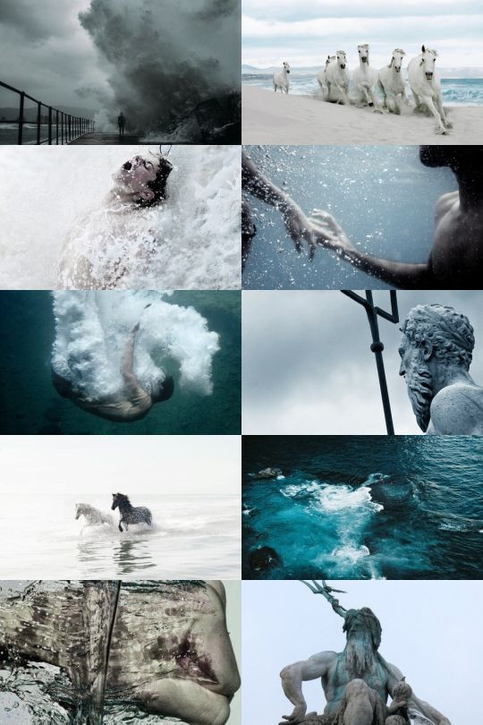 Poseidon Aesthetic      Poseidon, Greek god of the sea, was one of the most powerful of all of the gods in Greek mythology. He was one of the 12 Olympian gods and goddesses who held court on Mount Olympus - the mountain of the gods. Poseidon is the son of Cronos and Rhea, and brother to Zeus, Hades, Demeter, Hestia, and Hera...  Poseidon ruled over the seas. Poseidon is often associated with bulls and horses.