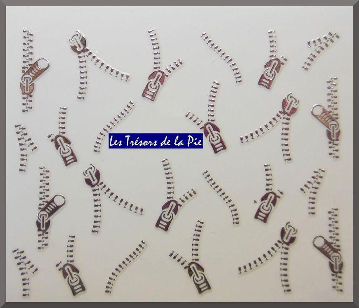 STICKERS ONGLES 3D (x24) - Nail art - Fermetures éclair zip - Argenté