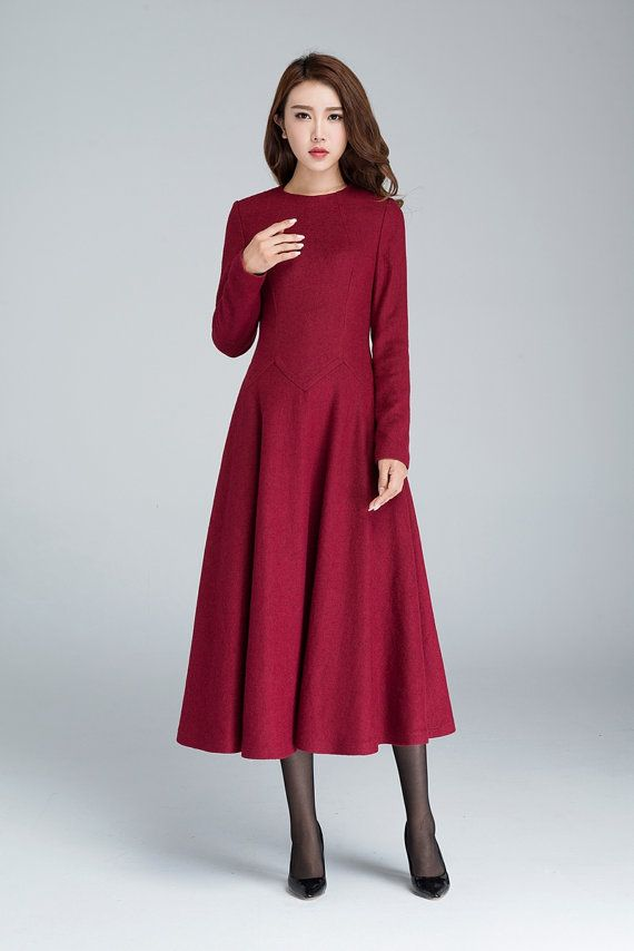wine red dress, maxi dress, wool dress, fall dress, party dress, evening dress, prom dress, ladies dresses, fitted dress    1618