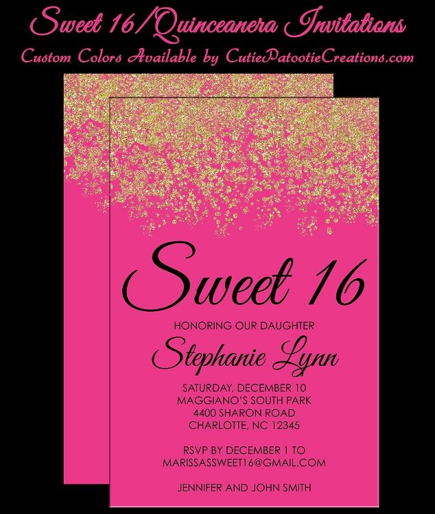 pink gold faux glitter sparkle sweet 16 birthday party invitations