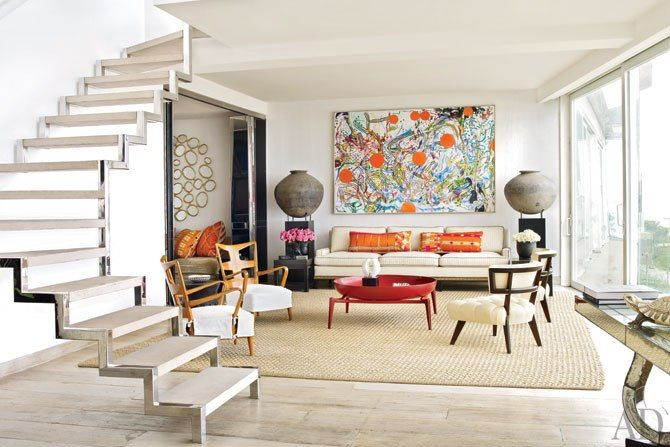 Using vibrant colours and earthy textures, the interior designer conjures a virtual portrait of Brazil in the sun-splashed rooms of his apartment. - by Alberto Pinto @ his Rio de Janeiro Retreat