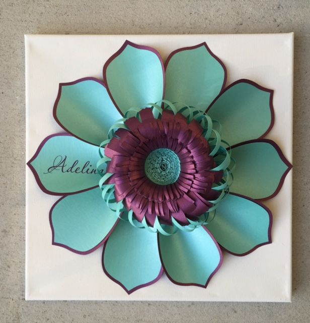 CindyPaperie paper flower. Printable Petal:: Personalized paper flower on canvas. 12 x12 inches.