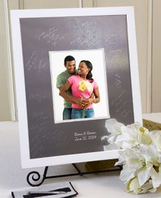 our modern block white signature frame guest book comes in three sizes have your guests sign the engravable photo mat with our easy to use signature