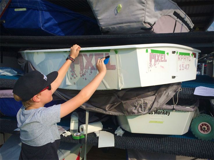 Love seeing kids applying their own Opti Sailing Dinghy Graphics!