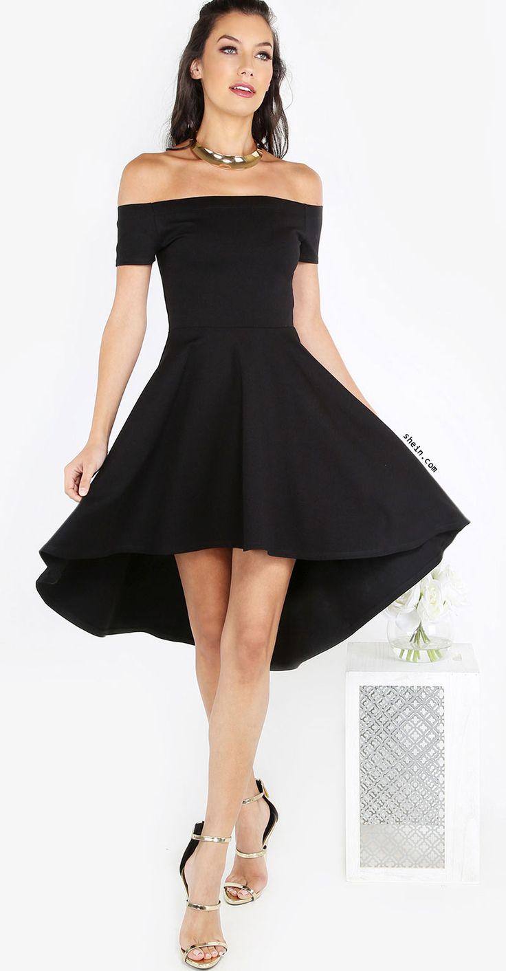 Bardot Skater Dress BLACK