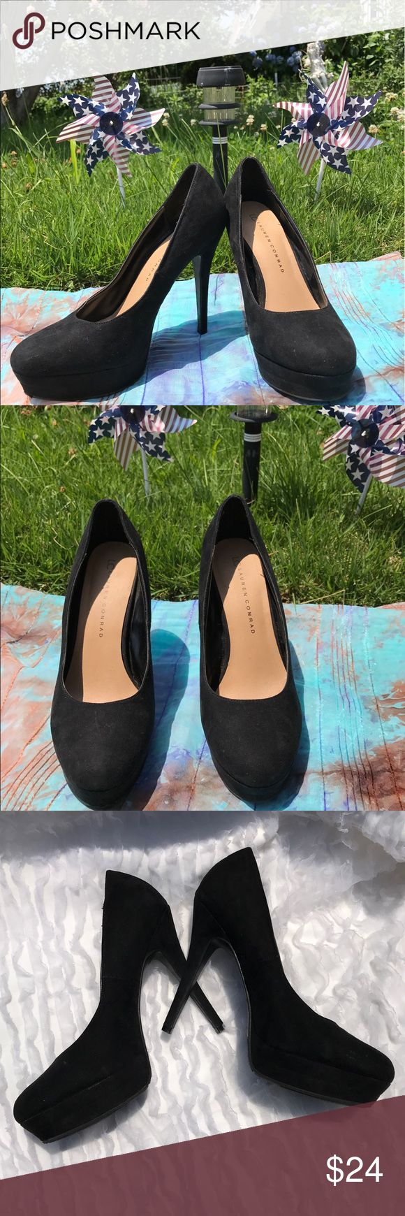 """Lauren Conrad Black Platform Heels 8.5M •Shoes are in excellent used condition •Minor, barely visible scuff on the front •Heel Height: 5"""" •Suede Like  Material LC Lauren Conrad Shoes Heels"""