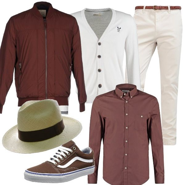 Proposta+pensata+per+un+uomo+a+cui+piace+vestirsi+con+un+tocco+di+eleganza.+I+pantaloni+bianchi+si+accostano+alla+camicia+marrone+e+ad+un+cardigan.+Sopra+si+consiglia+un+giubbotto+marrone,+come+le+scarpe+sportive.+Il+cappello+panama+è+un+dettaglio+di+classe+.