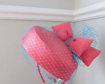 Coral Pillbox with Aqua Veiling - Handmade Pillbox - Wedding Guest Hat - Vintage Look - Edit Listing - Etsy