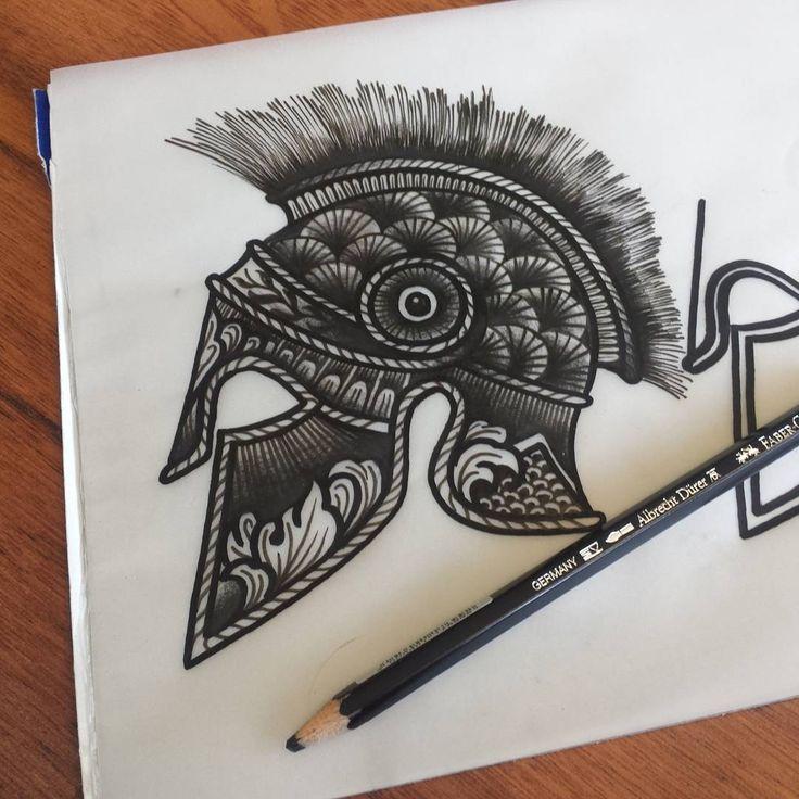 Roman Helmet Tattoo Idea