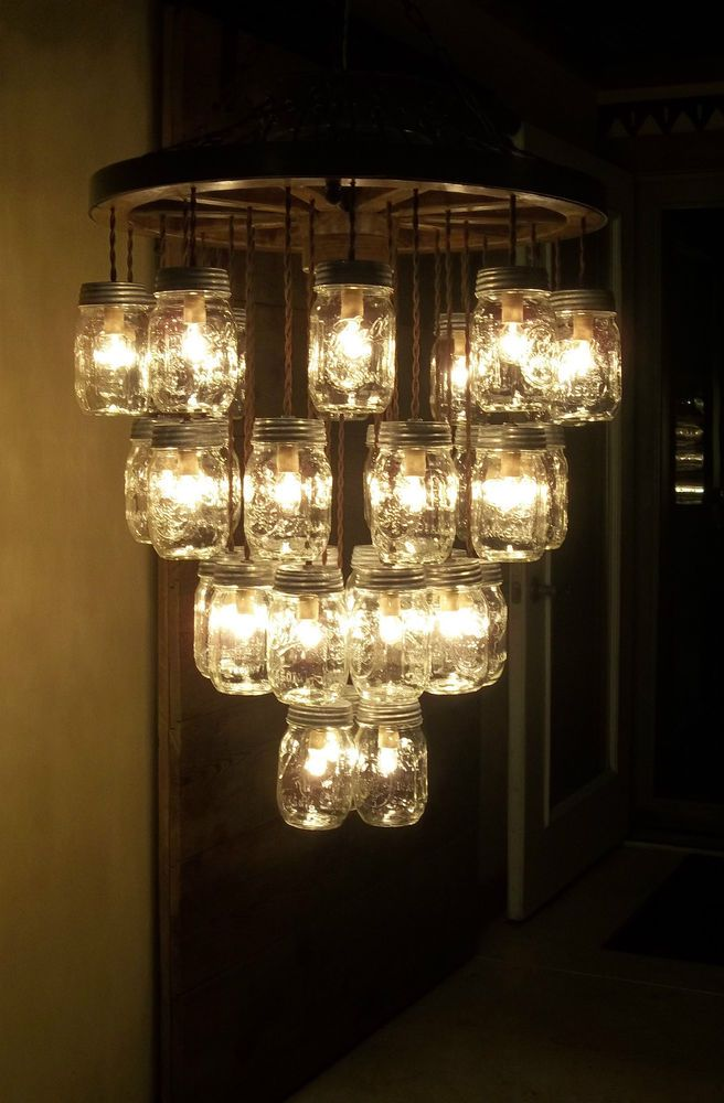 Wooden Wagon Wheel 22 Light Fixture 33 Mason Jar 4 Tier Chandelier Wood