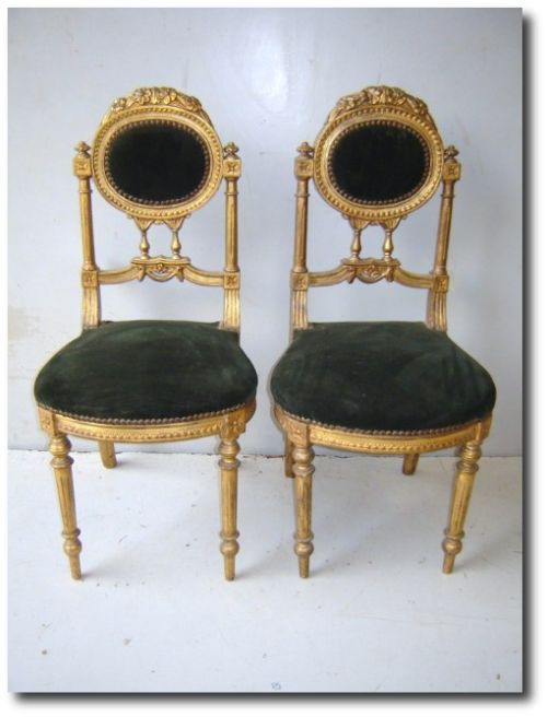Set of Eight French Louis XVI Style Antique Dining Parlor Side Chairs - ebay