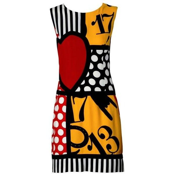 Preowned Iconic Moschino Vintage 90s Pop Art Dress With Numbers, Heart... (£525) ❤ liked on Polyvore featuring dresses, vestido, multiple, heart dress, vintage polka dot dress, preowned dresses, striped dress and moschino dress