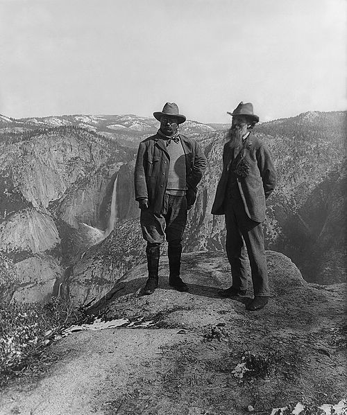 Theodore Roosevelt and John Muir in Yosemite.: