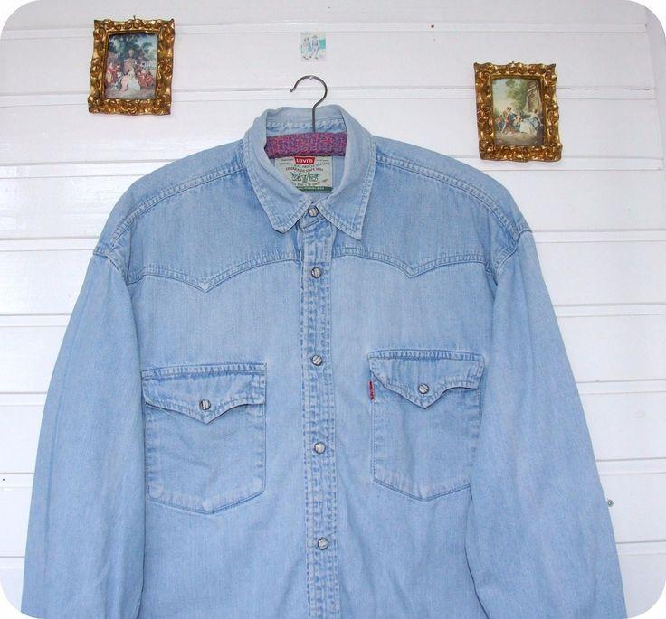 Vintage 90er Levi´s ® Jeans hemd Western Denim Shirt Levis Blau Stonewash Gr. L in Kleidung & Accessoires, Herrenmode, Freizeithemden & Shirts | eBay