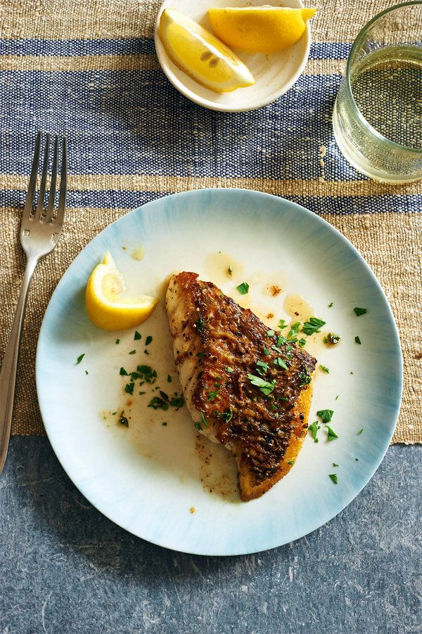 Pan roasted fish fillets with herb butter recipe cast for Iron fish for cooking