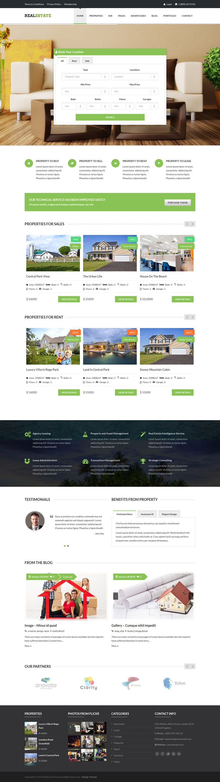 Real Estate is a #Responsive WordPress Theme for full-feature #real estate website and Portal. It has nice & clean design and it adds special integration features like property info, photos, Advanced Search, Google Map with property location markers, simple grid listing, agent login & register, front end property submit & edit, dsIDXpress IDX Plugin support, #WPML plugin support, custom widgets, Widgetized Sidebars, numerous templates, visual short-code builder...