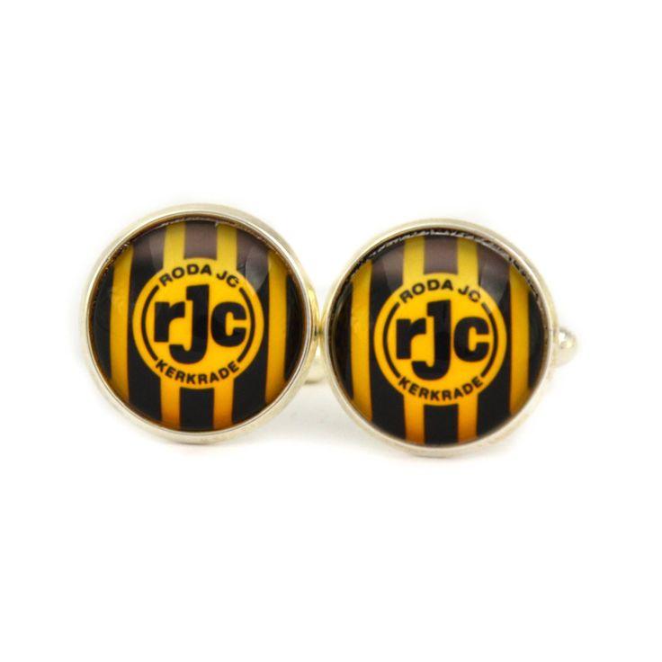Roda JC Kerkrade Logo cufflinks. Football club cufflinks.   Personalised  Men's jewelry accessories gift. by Mysstic on Etsy