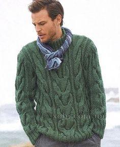 мужской свитер с косами спицами