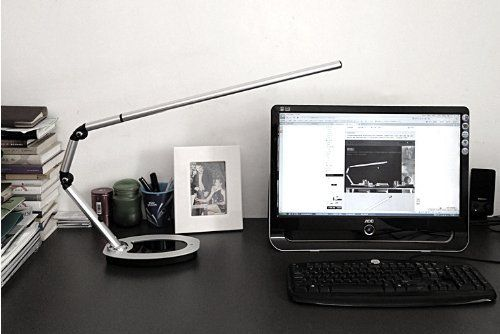 """Top Quality Stylish LED Natural Light Long Arm Desk Lamp MM814I-A. Top quality, stylish German design and versatile, this LED desk lamp features next generation LEDs and a stunning profile. Bright LED light sources distribute in a long range (16""""(L)x0.8""""(W)) -- good for office and home use, especially great for lighting long objects like piano, sofa. Perfect simulation of natural light (color temperature 5500K) - providing natural, non-flickering light for stress free productivity (eye..."""