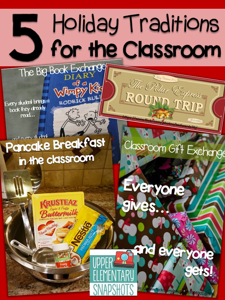 My 5 Favorite Holiday Classroom Traditions!  Read about the traditions I use every year for Upper Elementary!  FREEBIE Included!