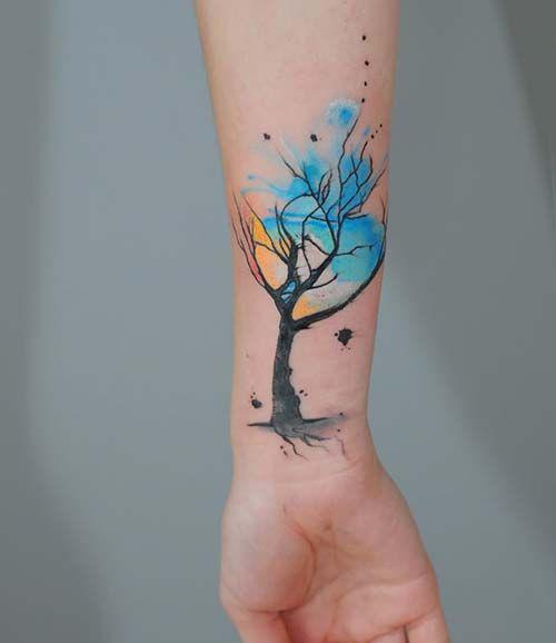 renkli ağaç erkek bilek dövmeleri waterolor tree wrist tattoos for men