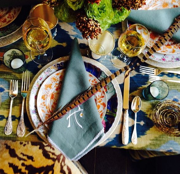 Ikat, animal print, pheasant feathers, great china - Danielle Rollins - House Beautiful: