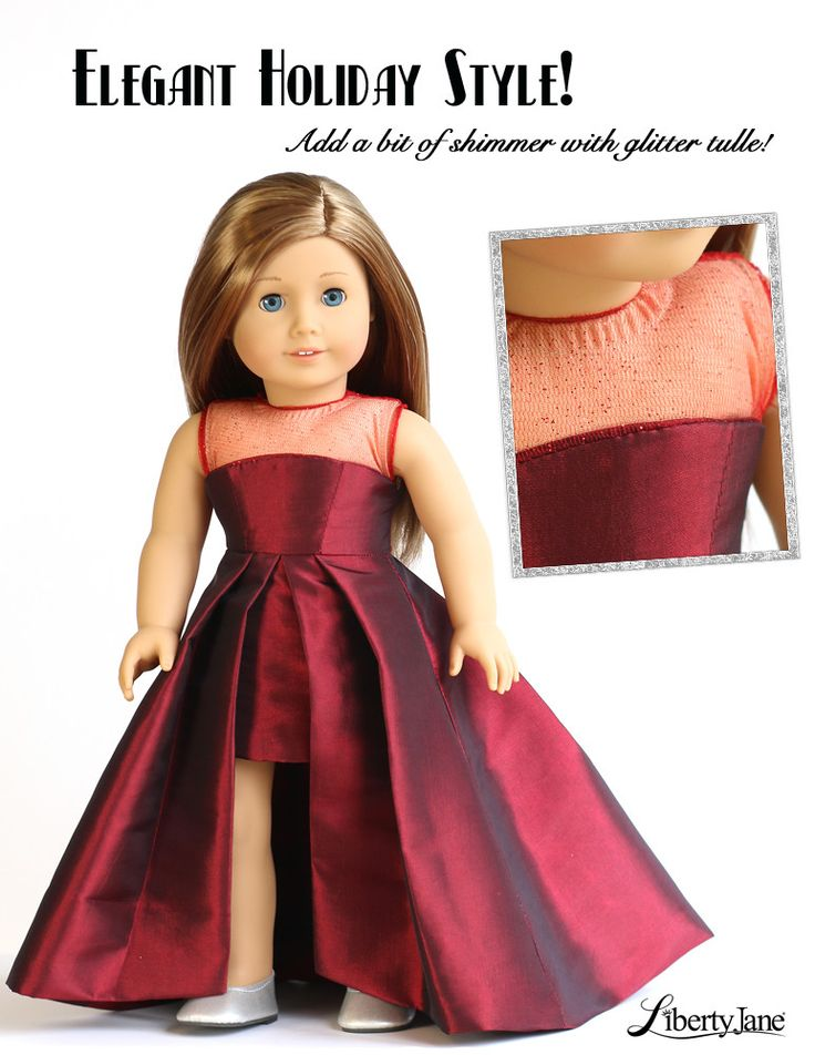 """Liberty Jane Holiday Dress    Download the sewing pattern at Pixie Faire   Opening Night Dress 18"""" Doll Clothes"""