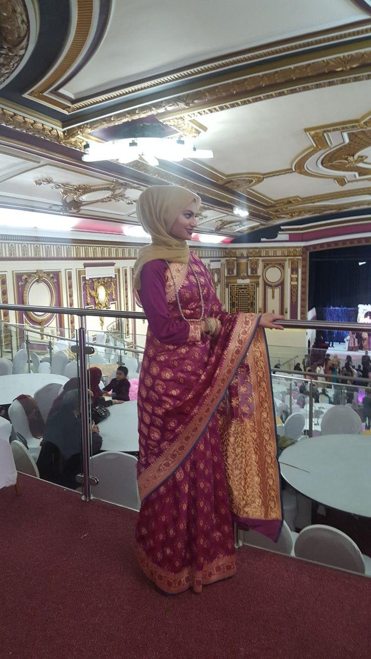 Insta: ameena_c_ #Hijabi #ModestFashion #Muslimah #Saree #Sari #Wedding #shaadi #party #Indian #Bengali