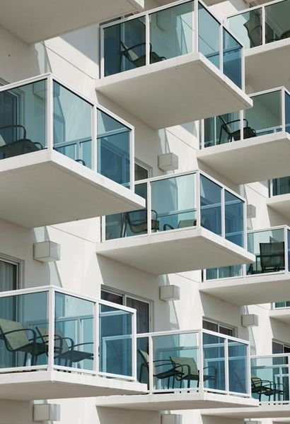 Azure Blue Glass Balcony Railing Glass Railing Glass
