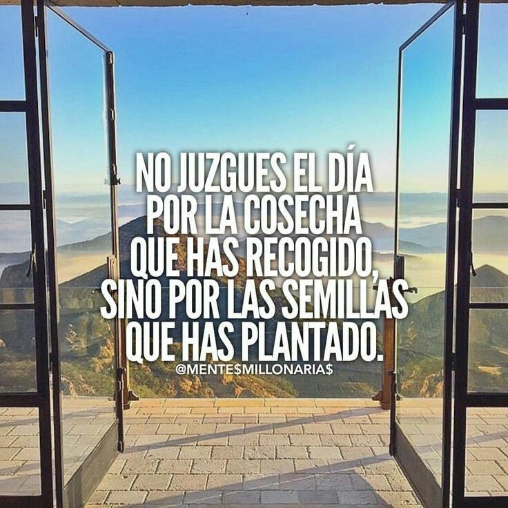 No juzgues el día por la cosecha que has recibido sino por las semillas que has plantado. Frases de inspiración para lograr tus objetivos.