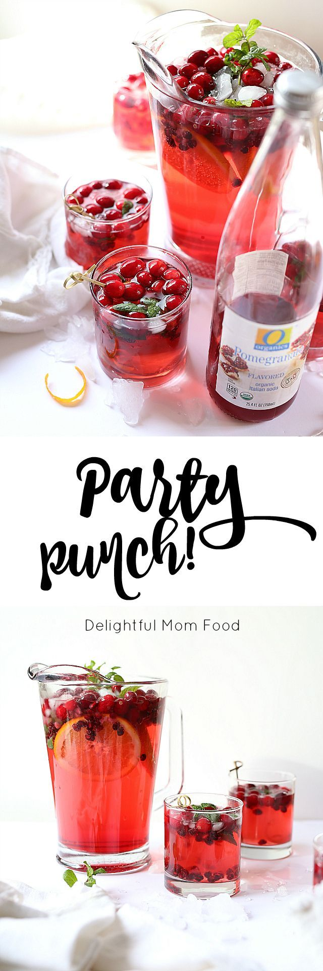 Party Punch Recipes For Any Holiday Or Party! Cranberry, orange, pomegranates and sparkling juice.