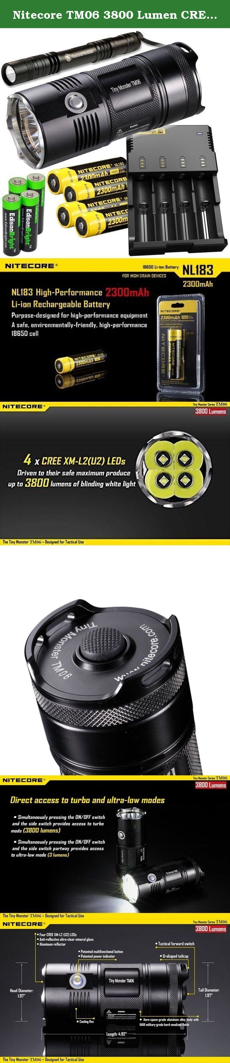 Nitecore TM06 3800 Lumen CREE LED super compact Flashlight/Searchlight, Nitecore i4 smart charger, 4 X Nitecore NL183 18650 Li-ion batteries, Smith & Wesson Pathmarker LED flashlight, with 4 x EdisonBright AA Alkaline batteries bundle. Features · Innovative two stage side switch accesses different modes and functions · Integrated power indicator on side switch indicates remaining battery power · Power indicator displays battery voltage accurate to 0.1V · Direct access to ultra-low or…