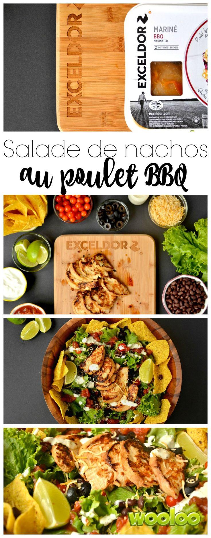 Cette salade de nachos au poulet BBQ est goûteuse,  croquante et super santé. Une recette passe-partout pour recevoir à l'improviste ou pour apporter lors de votre prochain potluck.  Ajoutez-y une délicieuse poitrine de poulet mariné Exceldor pour obtenir un repas sur le pouce rapide à préparer et  vraiment délicieux!