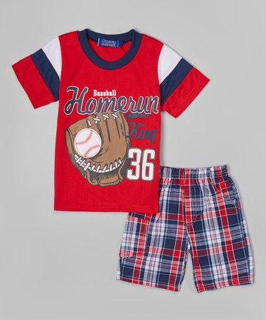 Loving this Red 'Home Run' Tee & Plaid Shorts - Toddler & Boys on #zulily! #zulilyfinds