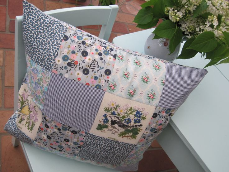 pillow for my summerhouse, blue.  recyckling