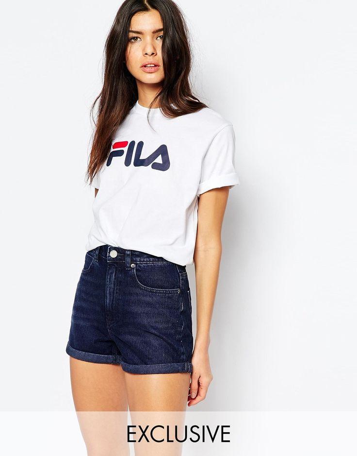 Fila - T-shirt oversize coupe boyfriend avec logo sur le devant