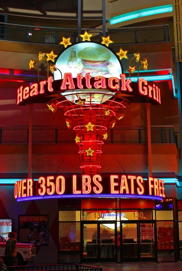 Heart Attack Grill in Downtown Las Vegas where you eat free if you are over 350 pounds.