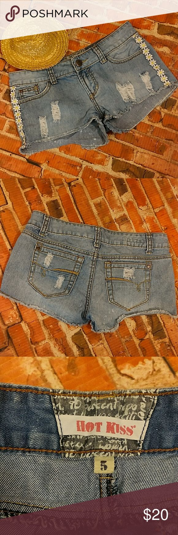 "Fun Distressed Denim Jean Shorts 5 Adorable cut off distressed denim jean shorts with sunflower trimming on each side. Five-pocket styling. Button and zip closure. Size 5.  29"" waist, 7.5"" rise, 2"" inseam. Light Blue Shorts Jean Shorts"