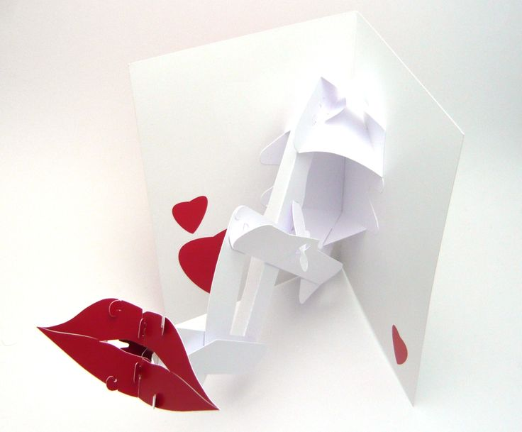 This pop-out valentine's day card has a pair of lips that literally reach out to your lips.  The lips retract back into the outline of the card when it's closed.