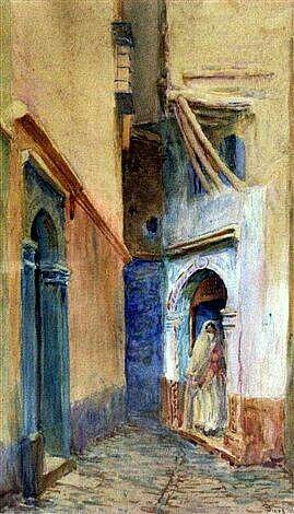 Algérie - Peintre français, Alphonse BIRCK(1859-1942) , Aquarelle avec gouache, Titre: Femmes devant sa porte à la Casbah d'Alger