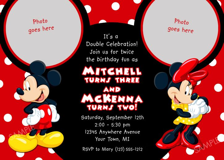 details about mickey mouse birthday invitation party card