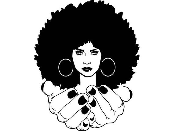 Afro Womanhands Nubian Princess Queen Afro Hair Beautiful African Female Lady Svg Eps Png Vector C Black Girl Art Black Women Art Afro