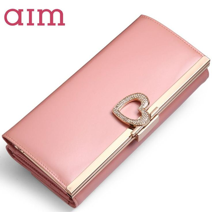 AIM 7 Color Large Capacity Fashion Leather Wallet for Women Brand Trifold Pink Clutch Bags Long Purse Female Phone Card Holder