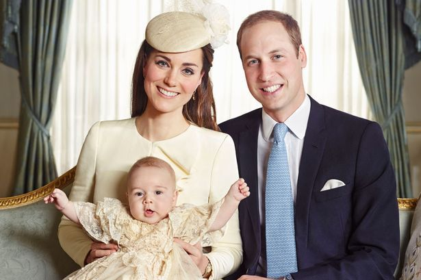 Celebration: William and Kate with Prince George at his christening