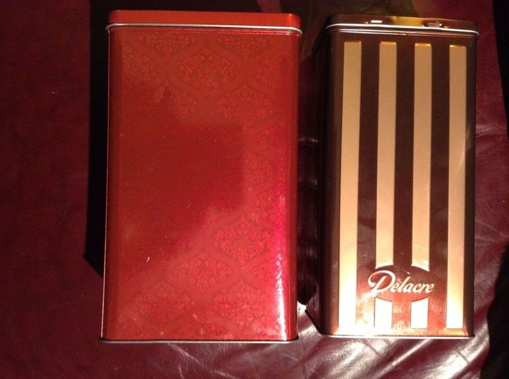 TWO Collectible Delacre Cookie Biscuit Tall Rectangular Tins Container France #DelacreBakery